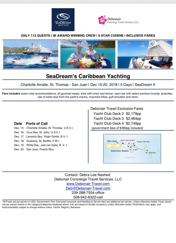 Debonair's Caribbean Voyage with SeaDream December 2018